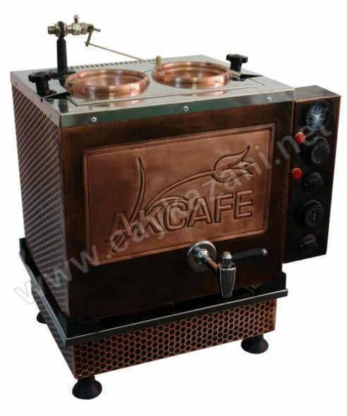 İkili Büro Tipi Bakır İşlemeli Elektrikli Çay Kazanı - Akcafe